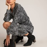 Thumbnail for your product : La Redoute Collections Polka Dot Midi Shirt Dress with Crew-Neck and Long Sleeves