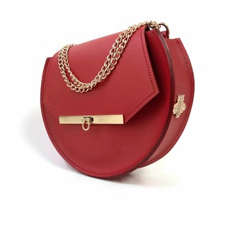 Angela Valentine Handbags Loel Crossbody Circle Bag In Saffron Red