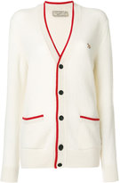 MAISON KITSUNÉ contrast trim V-neck cardigan - women - Lambs Wool - S