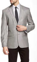 Vince Camuto Gray Sharkskin Two Button Notch Lapel Jacket