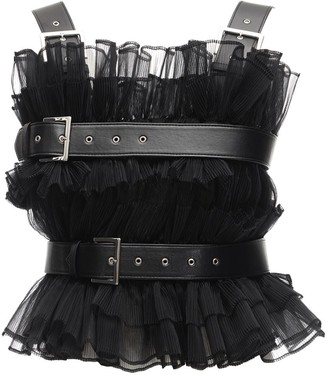 Noir Kei Ninomiya Ruffled Tulle Top W/ Faux Leather Belts
