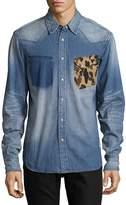 PRPS Men's Rifle Cotton Casual Button-Down Shirt - Blue, Size xxl [xxx-large]