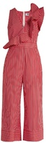 MSGM Ruffle-trimmed striped cotton wide-leg jumpsuit