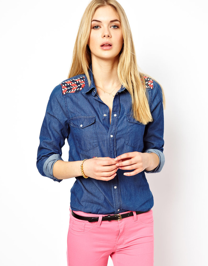 Vila Denim Shirt With Embroidery Detail