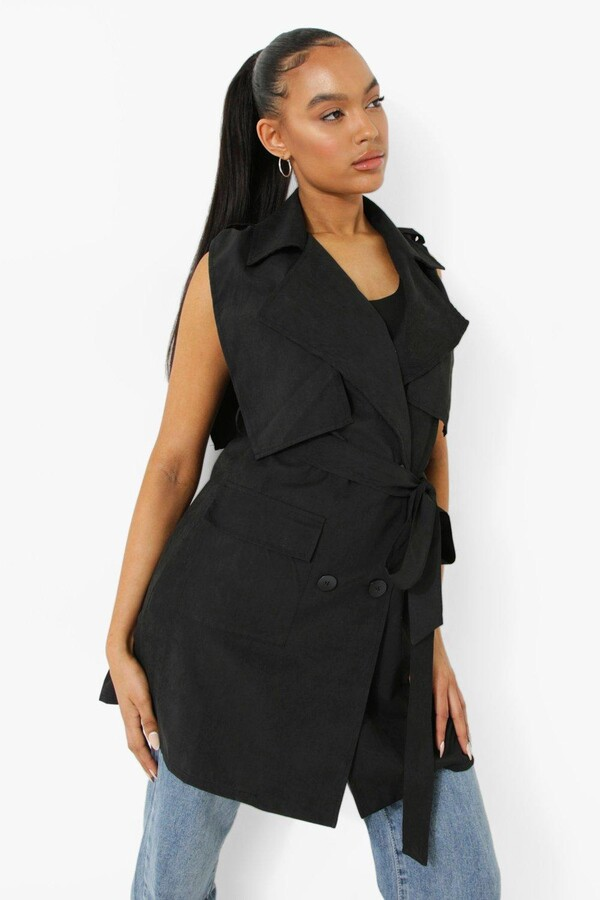 Thumbnail for your product : boohoo Sleeveless Belted Trench Coat