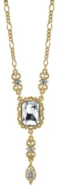 Downton Abbey Rectangular Crystal Pendant with Drop Necklace