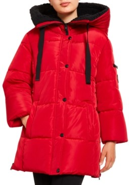 Madden-Girl Juniors' Faux-Fur Lined Hooded Puffer Coat