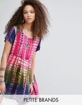 Glamorous Petite Oversized T-Shirt Dress In Tie-Dye Print