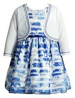 Youngland Toddler Girl Cardigan & Burnout Stripe Dress
