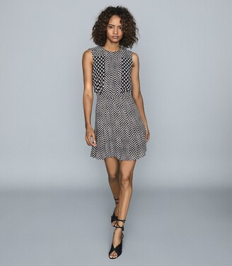 Reiss Nancy - Printed Day Dress in Black/white