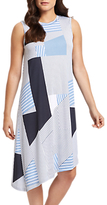 Jaeger Asymmetric Print Stripe Jersey Dress, Blue