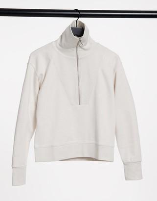Gant half zip sweatshirt in cream