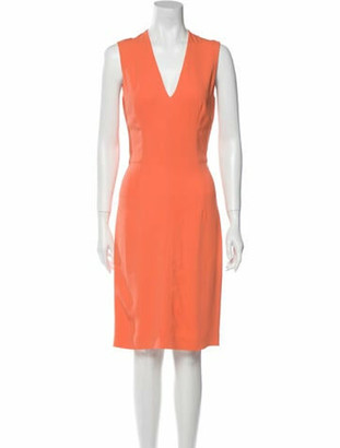 Stella McCartney V-Neck Knee-Length Dress Orange