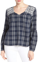 Caslon Plaid Woven Tie Back Boho Top