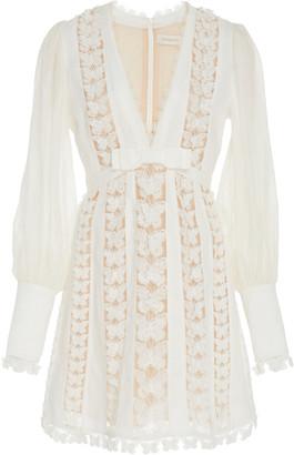 Zimmermann Silk And Linen-Blend Lace Mini Dress