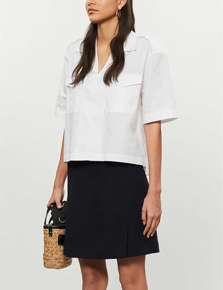 Reiss Fran pleated stretch-crepe mini skirt