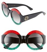 Gucci Women's 51Mm Round Sunglasses - Blue Havana/ Brown