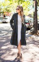Ily Couture Double Breasted Check Coat - Olive