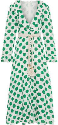 Zimmermann Amari Plunge Frill Belted Polka-dot Linen Maxi Dress