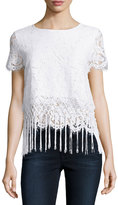 Design History Layered Fringe-Trim Cropped Lace Tee, White
