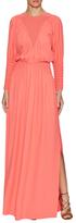 Fendi Eyelet Collar Cuff Drape Maxi Dress