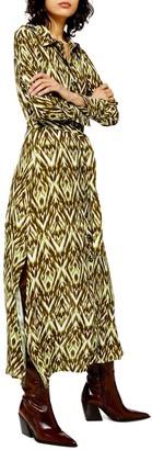 Topshop Long Sleeve Open Back Zigzag Shirtdress