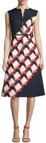 Suno Diagonal Square Zip-Front Midi Dress, Black