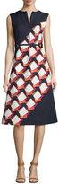 Suno Diagonal Square Zip-Front Midi Dress, Black