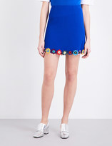 Mary Katrantzou Flower-appliqué wool-crepe mini skirt