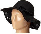 Betsey Johnson Felt Floppy with Floral Cut Out Brim