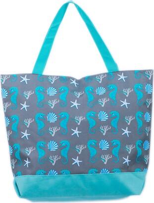 Beach Bag Womens Ladies 45 x 35 cms Large Summer Beach Canvas Tote Bags Zip closure Airee Fairee (Seahorse and Seashell Blue)