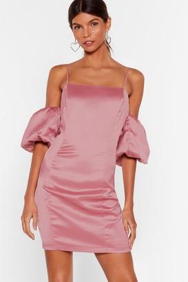 Nasty Gal Womens Sleeve Some Room Satin Cold Shoulder Dress - Rose