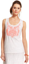 Style&Co. Petite Top, Sleeveless Embroidered Beaded Tank