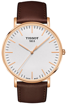 Tissot T1096103603100 T-classic Everytime Leather Strap Watch, Dark Brown/white