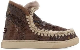 Mou 20mm Python Print Leather Eskimo Boots