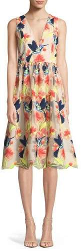 Alice + Olivia Becca Hummingbirds Sleeveless V-Neck Tea-Length Pouf Dress