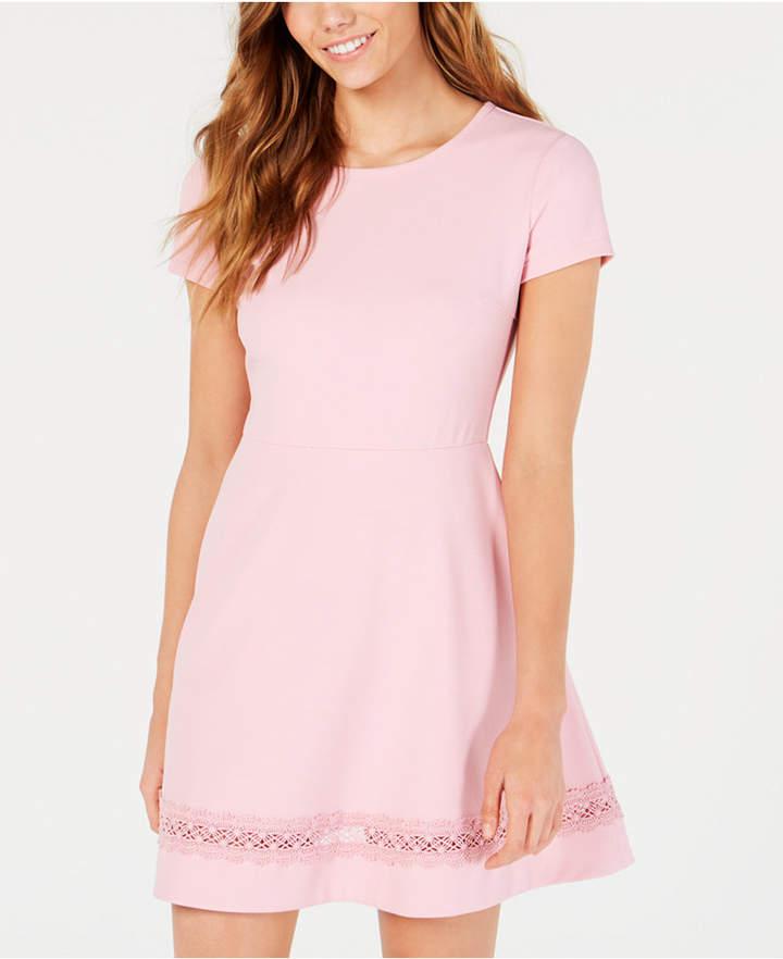 B. Darlin Juniors' Short-Sleeve Lace-Trim Fit & Flare Dress