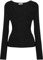 Tome Cutout Wrap-effect Ribbed Wool Top - Black