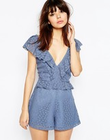 Asos Ruffle Back Lace Romper
