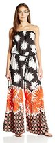 MSK Women's Strapless Challi Floral Printed Jumpsuit With Self-sash Belt