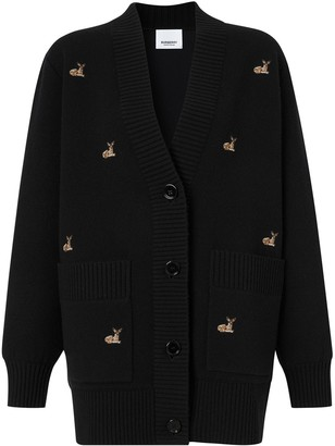 Burberry oversized Deer motif cardigan