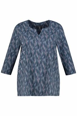 Ulla Popken Women's Keyhole Shirt mit abstraktem Druck Blouse
