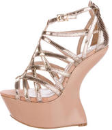 Carvela Metallic Strappy Wedge Sandals