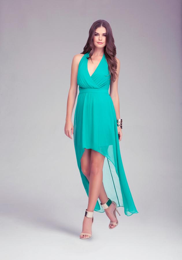 Bebe Halter High Low Maxi Dress