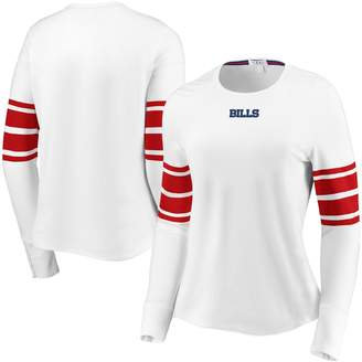 Buffalo David Bitton Unbranded Women's WEAR By Erin Andrews White Bills Snap Cuff Long Sleeve T-Shirt