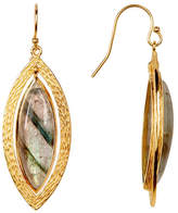 Argentovivo 18K Gold Plated Sterling Silver Marquee Shape Labradorite Earrings