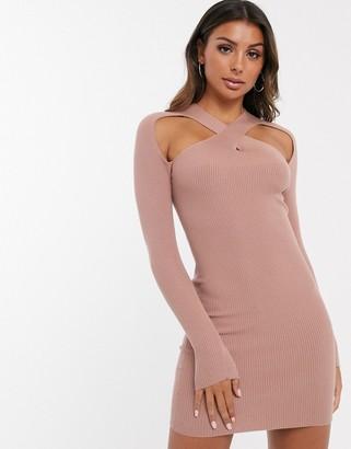 ASOS DESIGN cross neck knitted mini dress