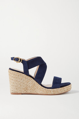 Stuart Weitzman Ellette Suede Espadrille Wedge Sandals - Midnight blue