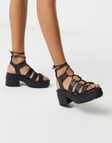 Asos Design DESIGN Harrier chunky mid-heeled sandals in black