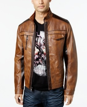 INC International Concepts Inc Men's Jones Two-Tone Faux-Leather Jacket, Created for Macy's